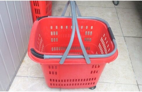 Commercial Plastic Rolling Shopping Basket With Wheels / Shopping Trolley Cart