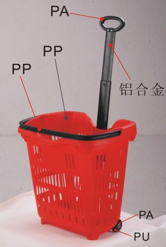 HDPP Supermarket Shopping Basket With Wheels / Plastic Shopping Cart 50 Litres